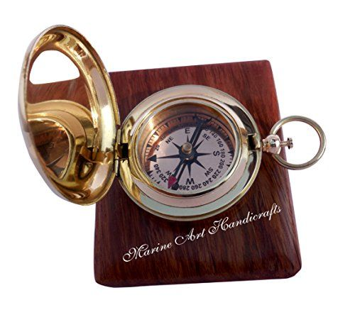 Handmade Brass Push Button Direction Compass POCKET COMPASS C3191 -- For more information, visit image link.