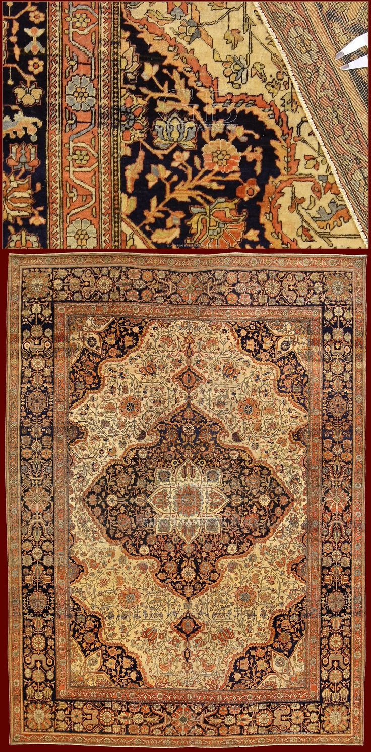 Extraordinary ANTIQUE KASHAN MOHTASHAM RUG  cm 300 x 215ft 9'8 x 7'1