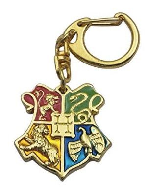 Hogwarts Houses - Red Gryffindor, Green Slytherin, Blue Ravenclaw, Yellow Hufflepuff Gold finish keychain Lightweight 2 5 inches