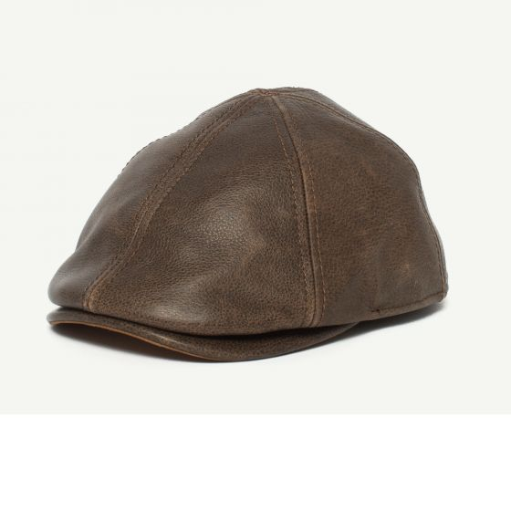 Fortunato Liberati Brown Leather Gatsby hat front view