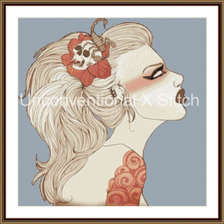 pinup girl cross stitch pattern - Magnolia tattoo background removed by UnconventionalX on Etsy