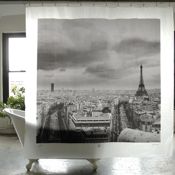 "Paris Shower Curtain now featured on Fab.      Brand Izola      Material Peva      Color Gray      Measurements H    $12fab    $29 retail price   72"" W 72""      Care Wipe with a damp cloth."