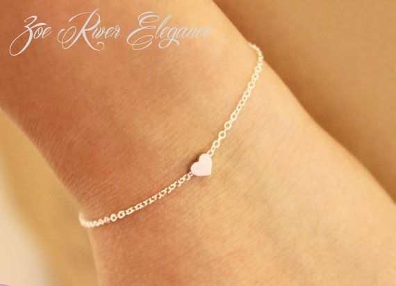 Tiny rose gold or silver or gold heart by ZoeRiverElegance on Etsy