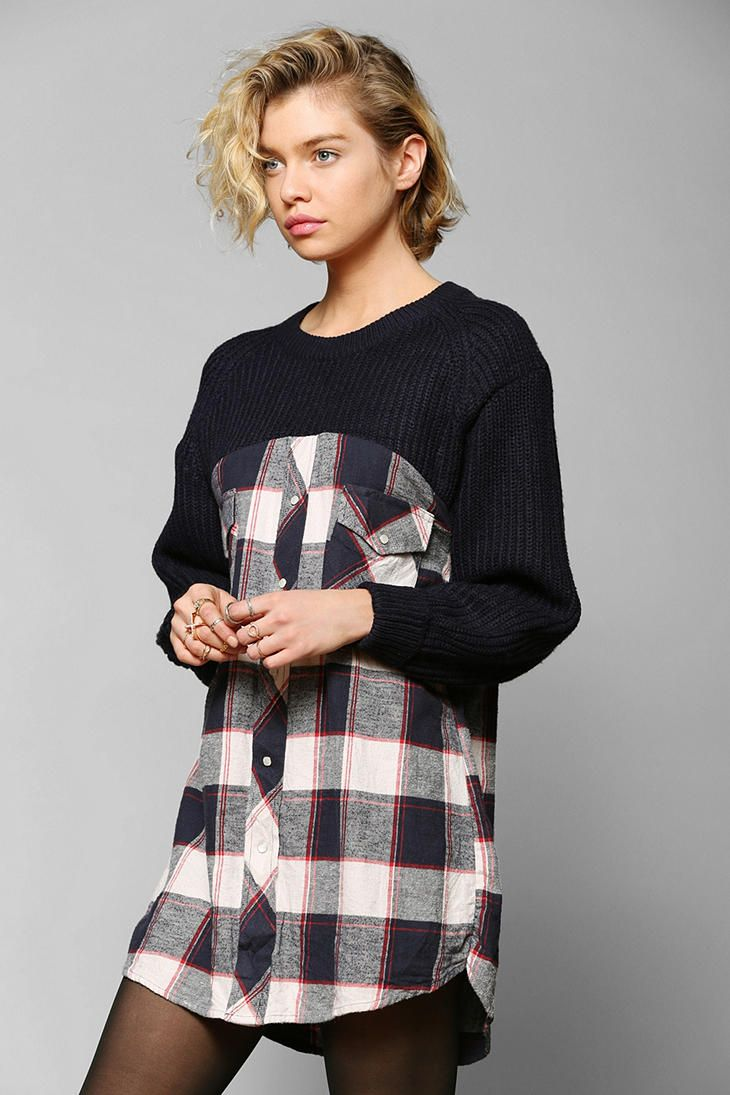 DIY INSPIRATION: Urban Renewal Sweater-Top Flannel Tunic. Going to try this with my teenage son's old shirt and my old sweater. Create a new look. *no instructions