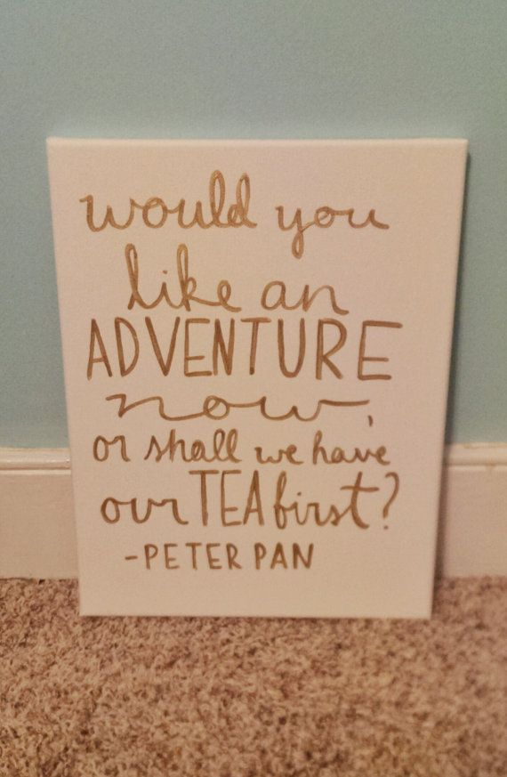 Peter Pan Adventure Gold Lettering Canvas Quote by QuotesOfNote, $18.00