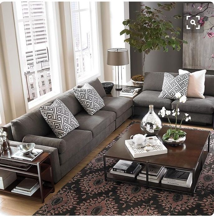 My future living room: gray couches dark end tables | Grey ...