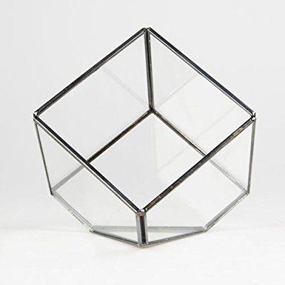 Terrario y soporte de vela de cinc y cristal en forma de cubo