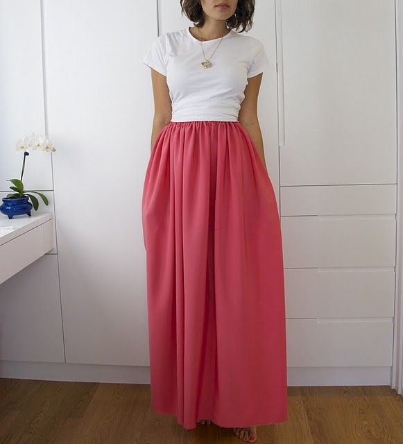 Maxi Skirt DIY | A Pair & A Spare  I love maxi skirts. For one, you don't have to have the nicest legs to carry them off. Two, I love wearing anything swooshy, I think I might have been a Southern Belle in a past life! And three, I can wear them in the cooler months still. For serious, I love skirts & dresses! I saw some beautiful fabric at Spotlight but was like - what would I do with it?! I think that I could handle a project like this - make a pocket for the elastic, sew together