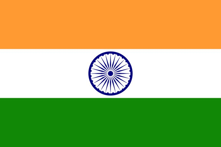 National flag of India from http://www.flagsinformation.com/indian-country-flag.html  Three equal horizontal bands of saffron (subdued orange) (top), white, and green with a blue chakra (24-spoked wheel) centered in the white band; similar to the flag of Niger, which has a small orange disk centered in the white band.