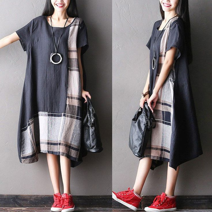 Dress - Women Summer Short Sleeve Loose Cotton Linen Dress