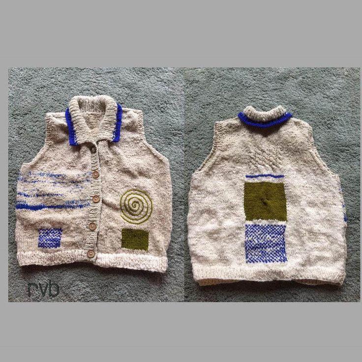 Van Schoonebeker Drents heide Schaap wol, het zelf spinnen naar breien warme vest. eigen ontwerp.