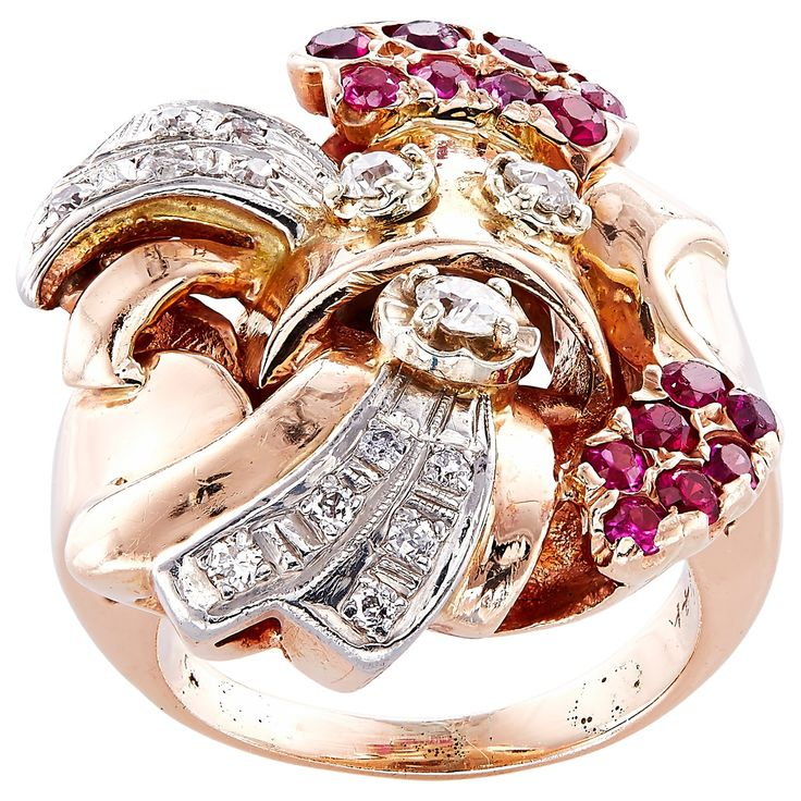 14k Pink Gold 1/2ct TDW Diamonds and Rubies Estate Deco Ring (H-I, SI1-SI2) (Estate Jewelry), Size 5.5