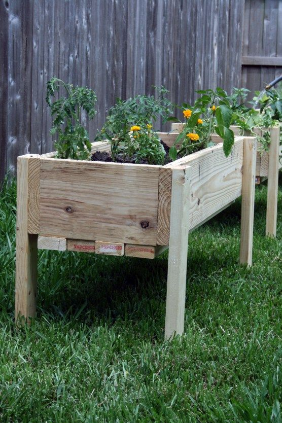 Nice tall garden beds. I would make legs thicker and taller