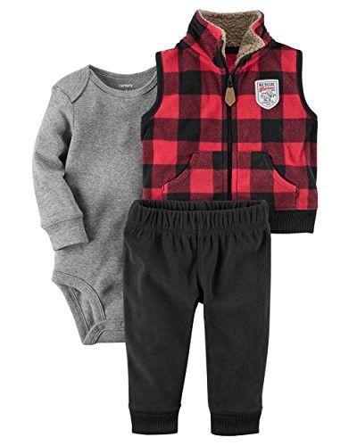 e7c62488a2f5 Carter's Baby Boys' 3 Piece Plaid Patch Little Vest Set | Baby ...