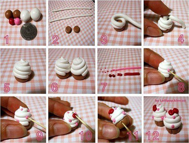 полимерная глина / пирожное / крем /