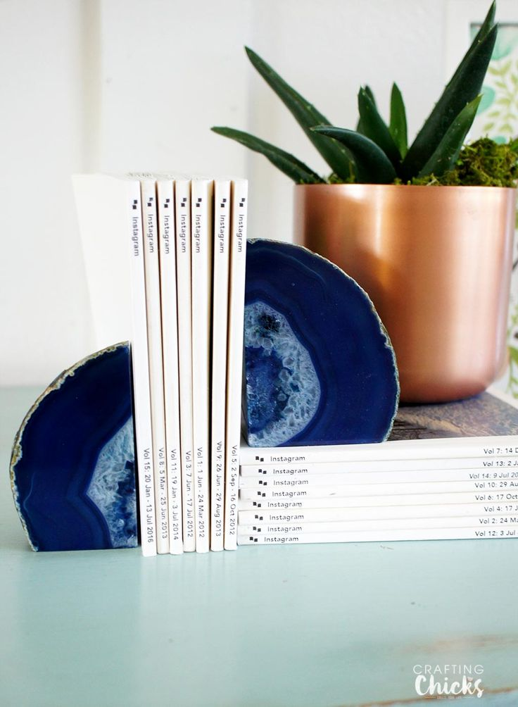 Geod Bookends. Geods are the first rock I want to put on display in my home! via @craftingchicks
