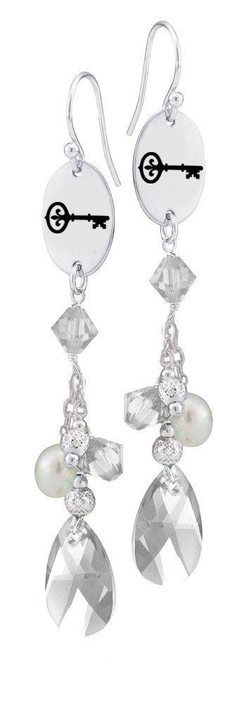 Kappa Kappa Gamma Symbol Clear Crystal and Freshwater Pearl Earrings