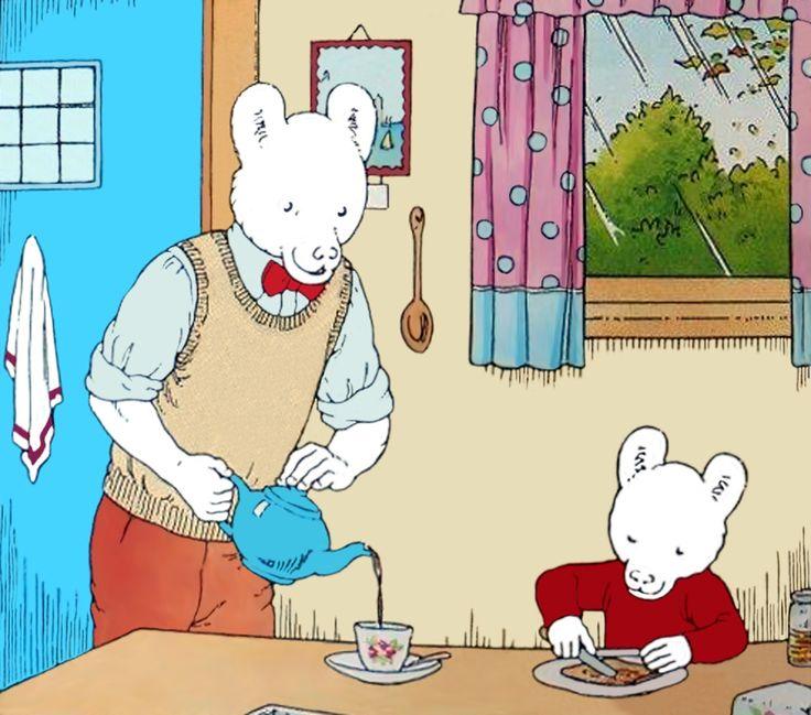Rupert Bear and his Dad make breakfast