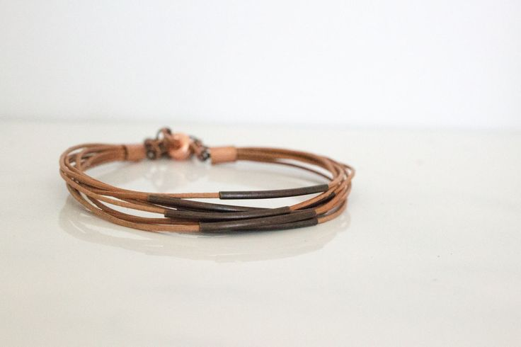 Antique Copper Tube & Leather Lace Bracelet, Minimal  Modern Everyday Jewelry, Handcrafted, Gift for Her by IvanRoseCreations on Etsy