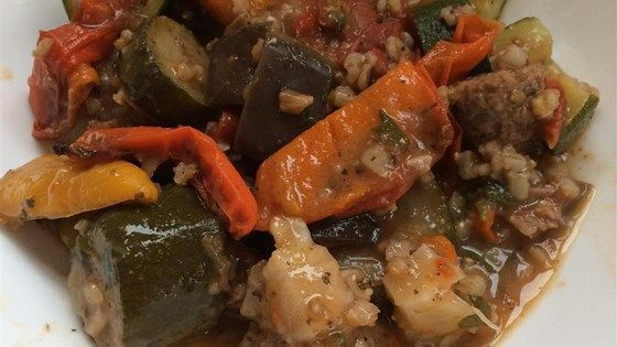 Eggplant, zucchini, red bell pepper, tomatoes and rice are simmered with Marsala wine and fresh herbs.