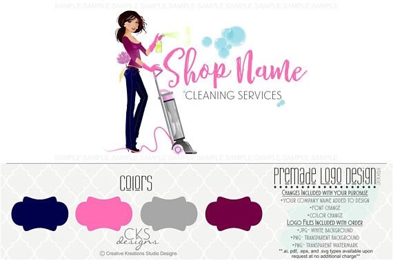 Premade Cleaning Service Logo House Cleaning Logo Maid Logo Cleaning Service Logo Cleaning Logo Cleaning Business Cards