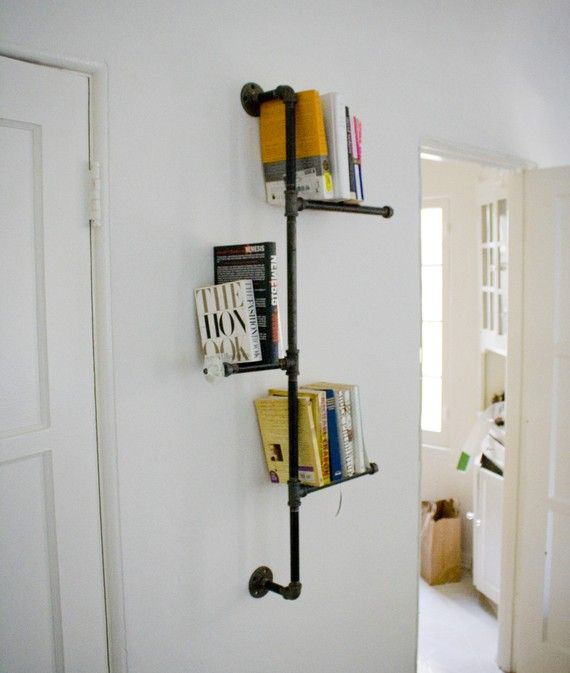 Industrial metal pipe book shelf