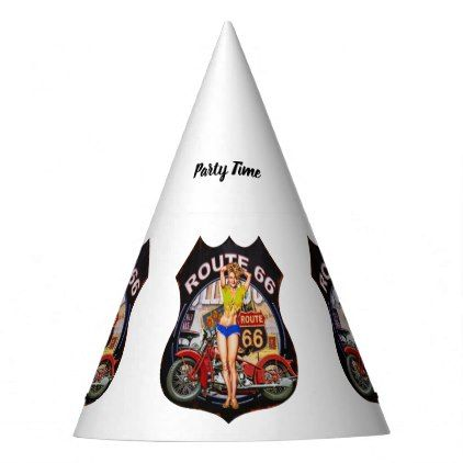 America route 66 with a motorcycle party hat - party gifts gift ideas diy customize