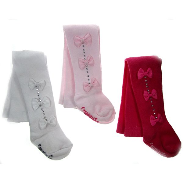 Diamante bow trim tights Age : 0 - 3 months , 3 - 6 months , 6 - 12 months Colour : pink , fuschia , white