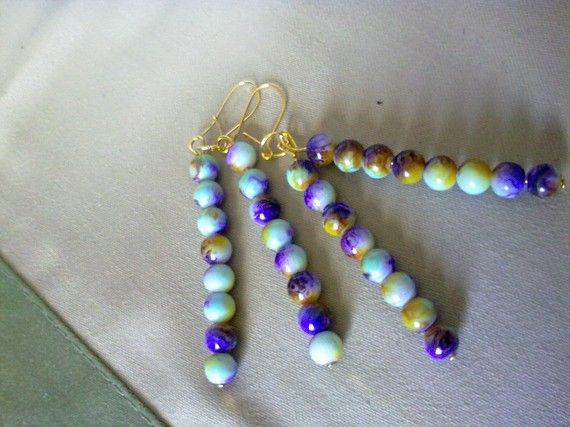 colorful dangle earrings by katerinaki106 on Etsy, $6.50