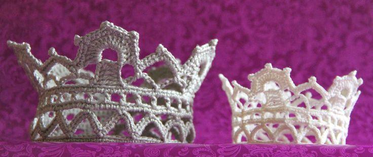 virka krage krona stärka spets brud gratis mönster