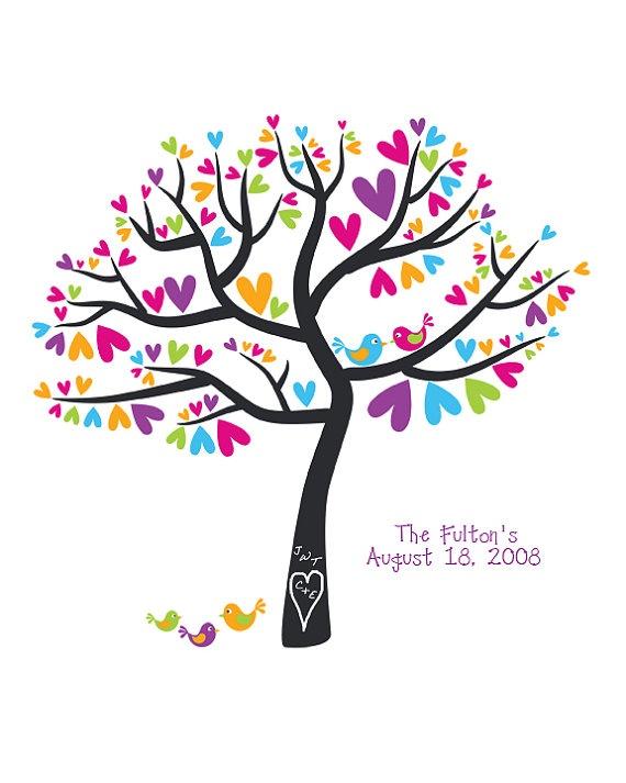family tree wall art  gorgeous colours!