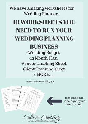 Wedding Work Sheet Templates for Wedding Planners | Culture Wedding PR