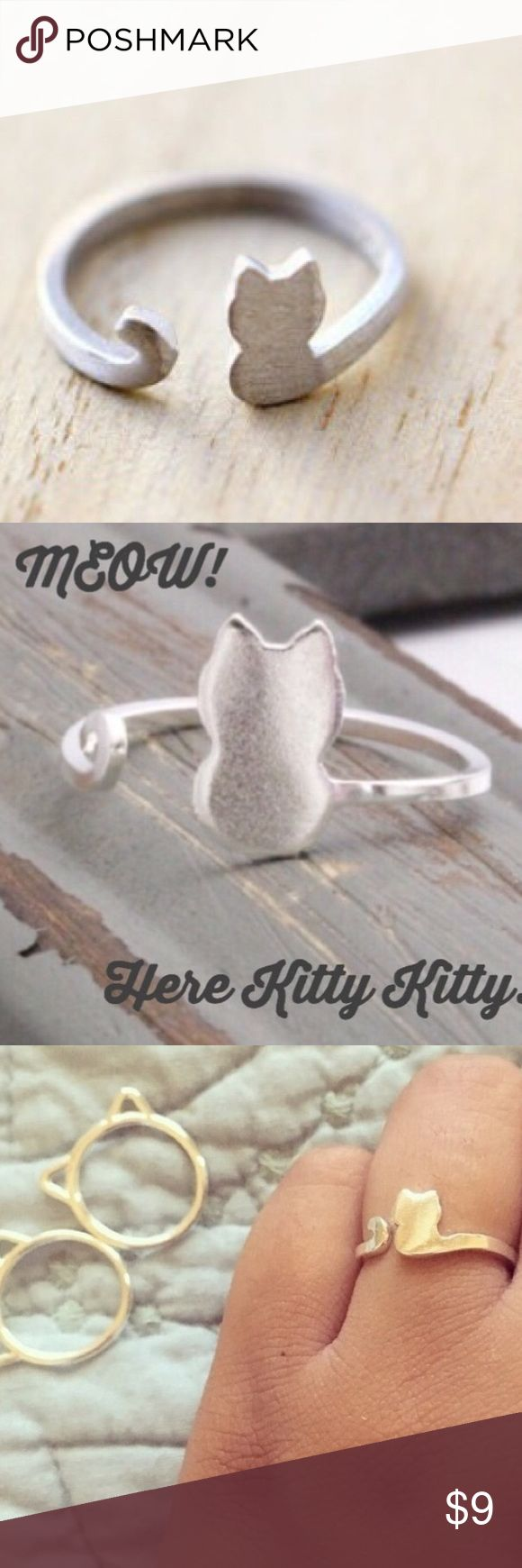 """Kitty Kat Ring So adorable and perfect for any cat lover! Size is adjustable. Material: Zinc Alloy Size: Adjustable  Color: Silver Bundle with the """"Kitty Rings"""" for a cute cat accessories collection! Jewelry Rings"""