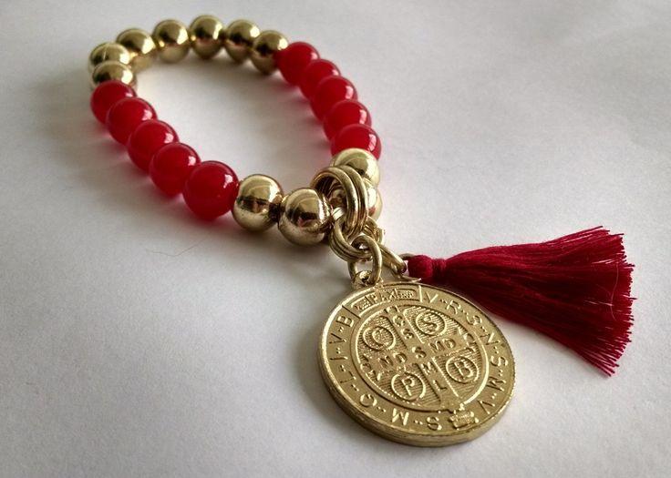 Pulseras Con Medalla San Benito X Unidad (rojo Y Dorado) - $ 90,00 ...