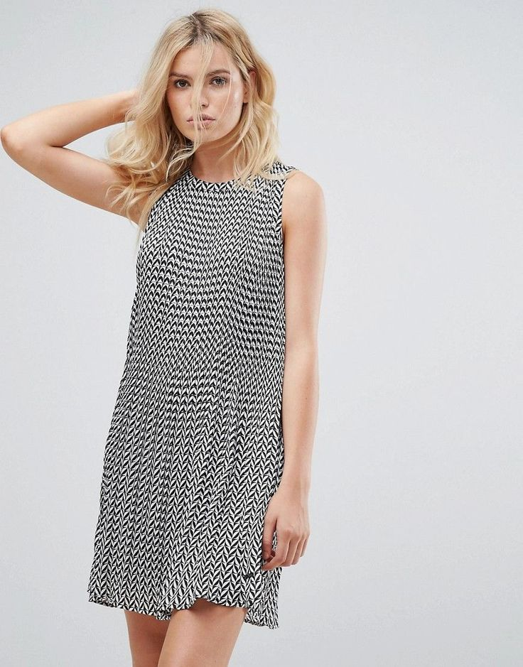 Pepe Jeans Lorin ZigZag Print A-Line Dress - Gray