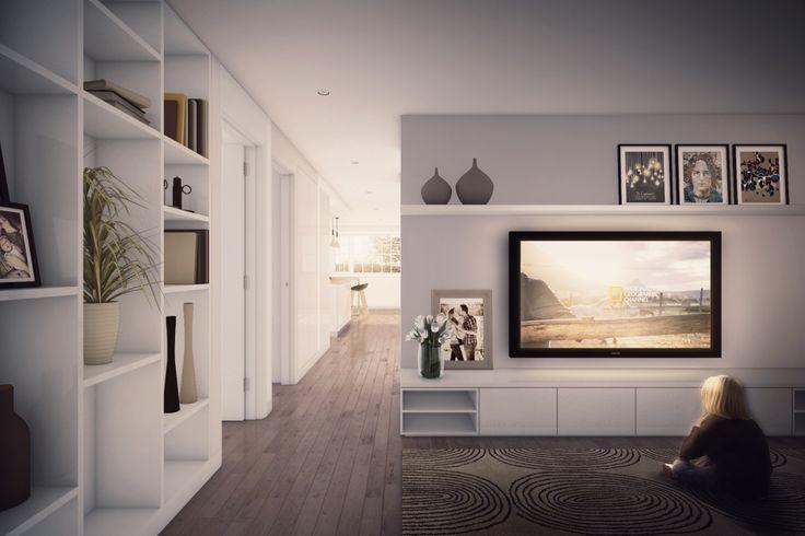 TV and Games room design...Find a 3D Renderer on Easy Render - The 3D Rendering Platform  #design #natural #modern #simple #dining #tv #room #productdesign #architect  #architecture #render #visualisation #lovearchitecture #design #interior #interiordesign #livingroom #white #small #space