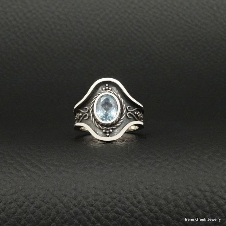 LUXURY AQUAMARINE CZ BYZANTINE STYLE 925 STERLING SILVER GREEK HANDMADE RING #IreneGreekJewelry #Cocktail