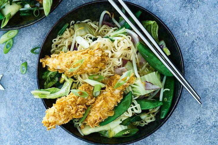 Gebakken noedels met groenten en garlic chicken - Recept - Allerhande