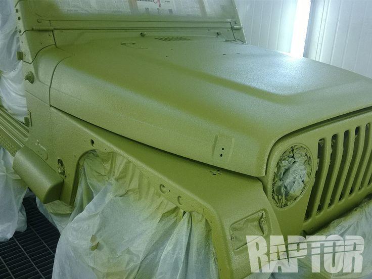 Jeep wrangler full overspray raptorised bedliner paint