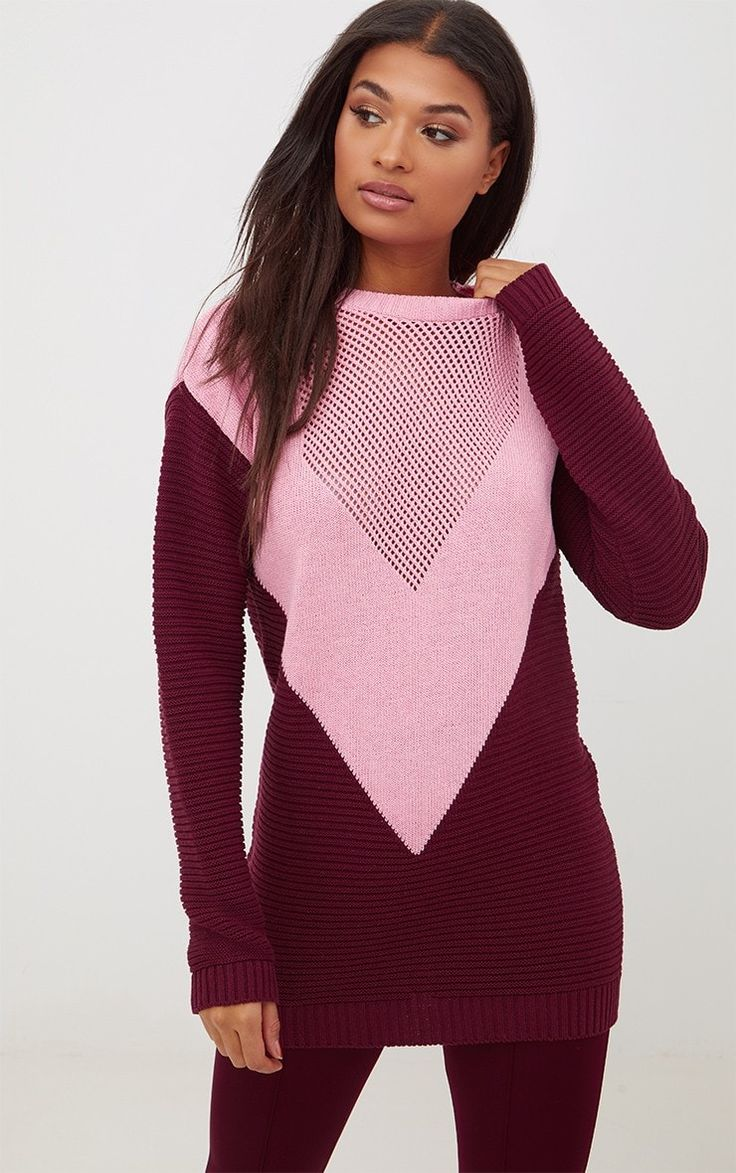Burgundy Colour Block Open Weave JumperFeaturing burgundy open weave knit with a contrasting pink...