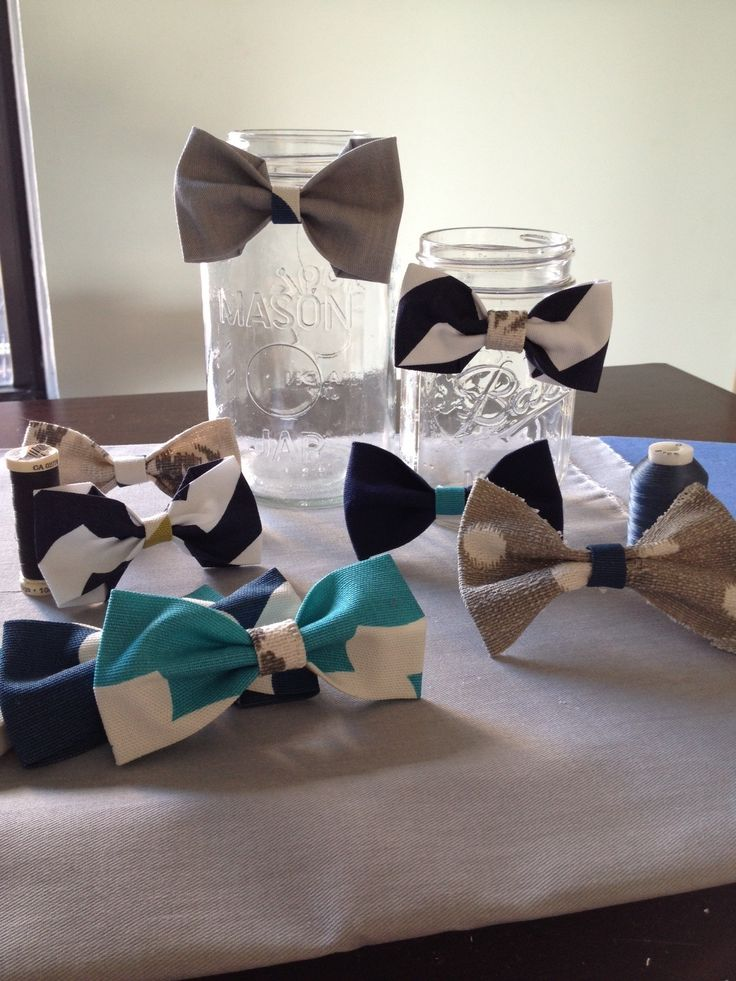 Little man - hand made baby bow ties to use as part of baby shower center pieces - grays and blues #bowties #babyboy #babyshower