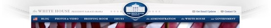 White House website header and fonts