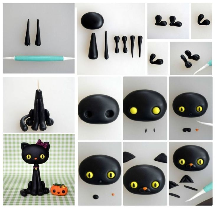 Polymer clay Halloween black cat tutorial - handmade decoration DIY step by step