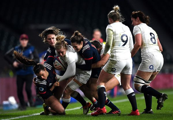 Danielle Waterman of England is tackled by the French defence during the Women's Six Nations match between England and France at Twickenham Stadium on February 4, 2017 in London, England.
