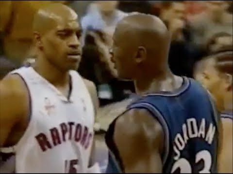 Michael Jordan (Age 38) shuts down Vince Carter - 0 pts in 2nd half - YouTube