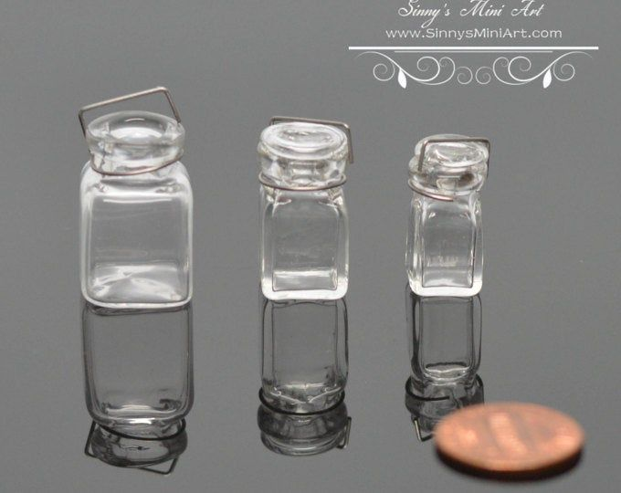three PC BD HB078 A Set of 1:12 Dollhouse Miniature Glass Jar with Lids