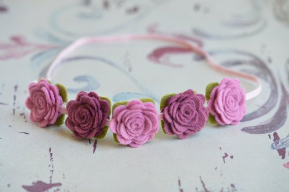 Felt Flower Garland Headband With Flowers in Pink Violet and Berry. $10,50, via Etsy.