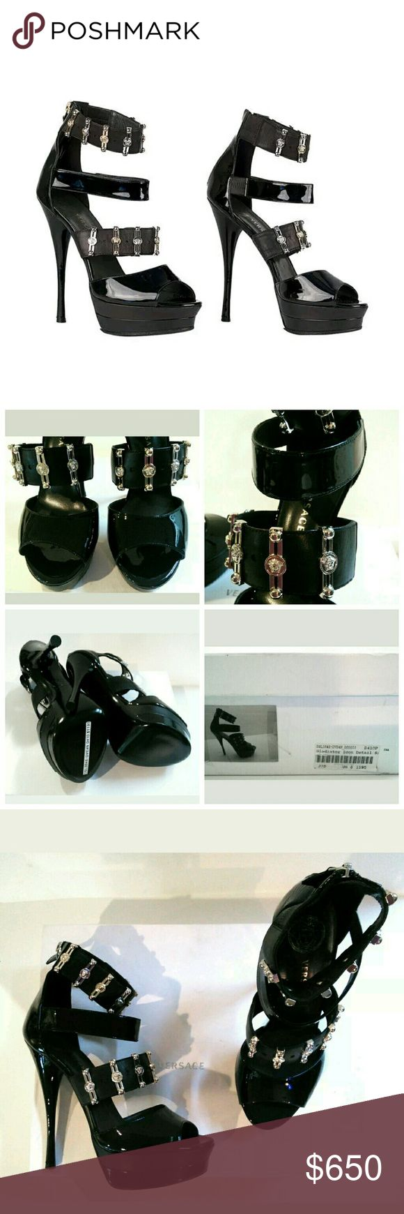 Price DROP👇 $1195+ NIB Versace Gladiator Heels Amazing ICON double platform heel sandals in black patent leather exclusively by Versace.  Signature silver + gold medallion hardware.  Original box + care card included!  Size 37.5 or 7.5/7 US!  Additional photos can be provided.  💵Extra 15% off HOLIDAY SALE👠💵 No✋trades Versace Shoes Heels