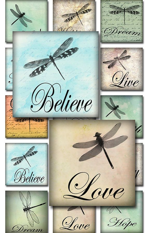 Dragonflies Ephemera Inspirational Words Watercolor Square Digital Collage Sheet JPEG (A-29D)