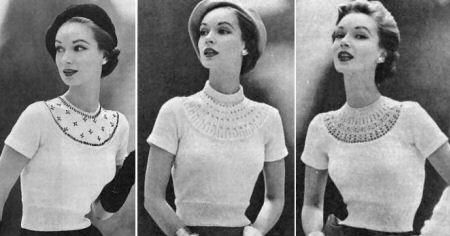 Pullover Sweater Top with 3 Snap-in Yokes; beaded, ribbed, lacy Vintage Knitting Pattern for download Sz 12-20